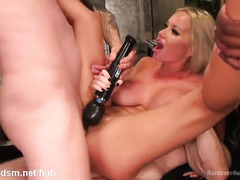 Busty blonde beauty queen serves several hungry male rods with her fuck holes