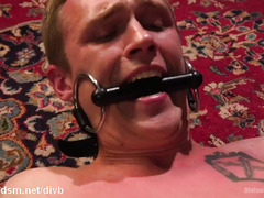 Sexy blonde mistress torments submissive slave stud with rough cock riding