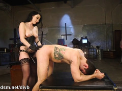 Slave stud has to rely on mistress's thick strapon to get his ultimate orgasm