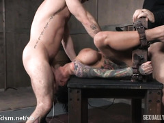 Tattooed slave endures tenacious deepthroating and rough sex from two masters