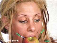 Slave Crystel Lei pussy punishment in gyno bdsm and bizarre needle pain of suffering blonde masochist in hardcore domination session