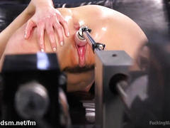 Hot chick enjoys a milky and wet pussy from playing with the fucking machine