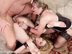 Two gorgeous slaves delight their master with relentless blowjob and lusty fucks