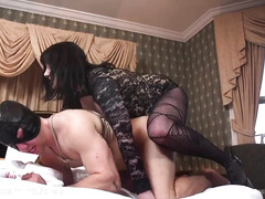 Voluptuous mistress thrashes her slave's tight anal tunnel with a thick strapon