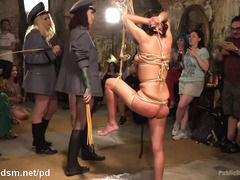 Two beautiful slaves receive humiliating punishment and rigorous beaver thrashing