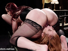 Busty redhead mistress dominates her sexy lesbian slave with lusty sex