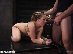 Voluptuous slave gets her pussy thrashed and nipples clamped in bondage