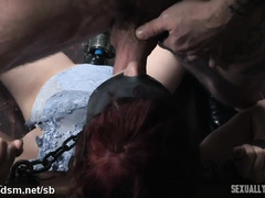 Blindfolded and bounded slave gives non-stop deepthroating pleasures to two masters