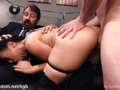 Naughty chick continues to serve her pussy despite getting caught in the act
