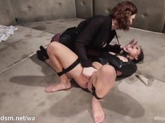 Lesbian slave in straight jacket suffers from mistress persistent pussy play