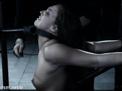 Tormenting brunette slave into total submission through rough beating punishment