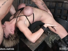 Voluptuous slave receives rough deepthroating with her head thrown backwards