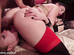 Blonde chick receives lusty slave training with horny mistress and master