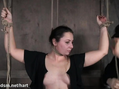 Master punishes curvaceous brunette beauty with painful hogtied punishment