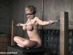Making busty slave's pussy awfully wet through rough flogging and caning