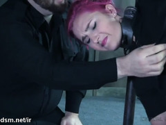 Captivating chick in stockings moans wildly while master beats up her smooth ass