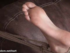Painful clothes pegging on young brunette slave's body while being bounded
