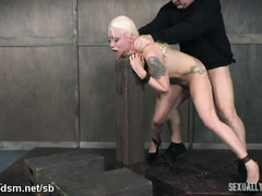 Hot blonde in sexy high heels suffers from persistent doggystyle drilling