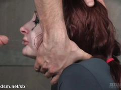 Submissive redhead gives lusty deepthroating while being banged from behind