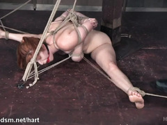 Tied up slave endures painful rope bondage and explosive pussy fingering