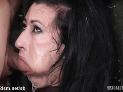 Messing up busty slave's pretty face with loads of deepthroating drool
