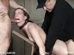 Tormenting hot brunette with non-stop doggystyle thrusting and wet deepthroating