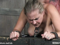 Excessive fucking and blowjob punishment for chained up big tits blonde slave