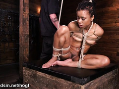 Submissive ebony endures vigorous bondage punishment while in suspension