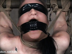 Skinny brunette with no tits rougly dominated in BDSM