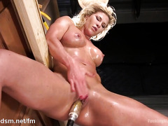 Milf masturbates with her fucking machine until the orgasm