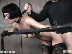 Rough BDSM hardcore with two men for a tight brunette
