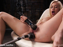 Girl enjoys fucking machine sex in crazy scenes