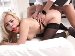 Busty blonde takes a lot of dick in her tiny holes while obedient