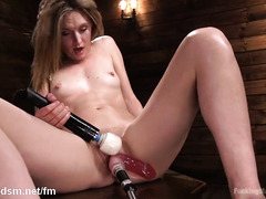 Blonde removes red lingerie to work her new fuck machine