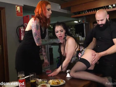 Submissive whore fucked during dinner party in crazy modes