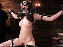 Submissive whore in serious scenes of harsh BDSM play