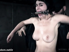 Busty brunette forced gagged and restrained