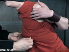 Young blonde restraint and exposed to harsh BDSM sexuality