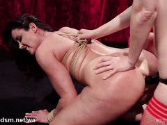 Fat ass mature plays obedient in harsh lezzie BDSM play