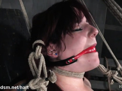 Fat ass redhead forced fucked with toys in harsh BDSM