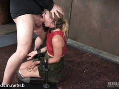 Seduced blonde forced gagged until fully jizzed