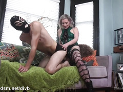 Aroused domme uses huge strapon on man's butt hole