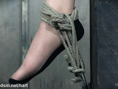 Hard tied babe exposed and roughly stimulated in BDSM dominance