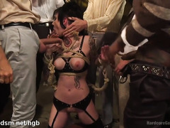 Tattooed whore forced fucked in severe gangbang scenes