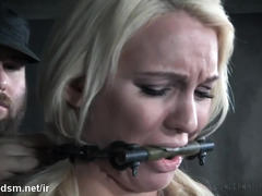 Busty blonde plays obedient and endures infernal BDSM