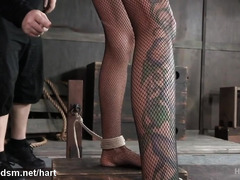 Busty blonde fully obedient in scenes of harsh BDSM oral
