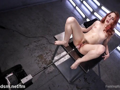 Nasty redhead works the fucking machine in intense solo