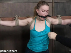 Young blonde tied hard and roughly stimulated