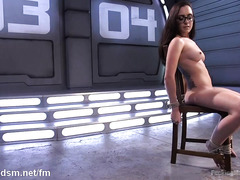 Girl with glasses fucking machine extreme masturbation