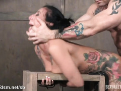 Tattooed brunette forced fucked and gagged until exhaustion